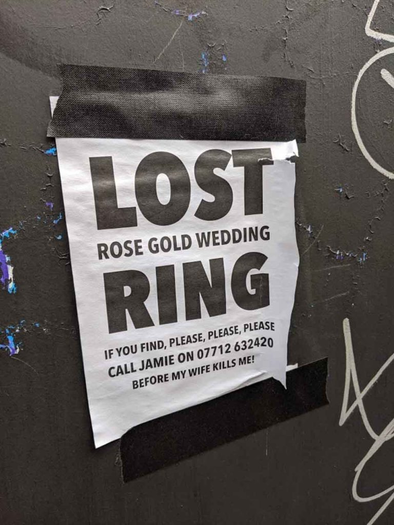 Lost ring announcement in London